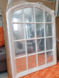 Gorgeous shabby vintage washed white wooden arched top window mirror