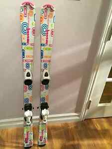Girls 120 cm skis and two pairs of ski boots