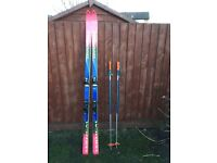 Set of skis and poles,
