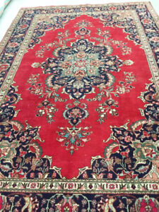 semi-antique persian Rug,10.7 x 7 ft,wool,handknotted,Red