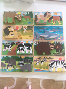 Melissa & Doug Wooden Animal Picture Puzzle Boards