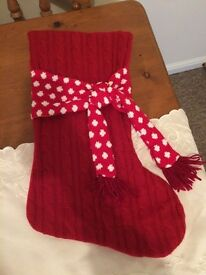 Knitted red Christmas stocking