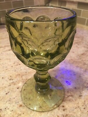 IMPERIAL GLASS PROVINCIAL GREEN WINE THUMB PRINT FOOTED GREEN GLASS VINTAGE