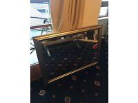 Large metallic gold mirror