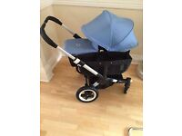 Bugaboo donkey extendable hood and apron . Ice blue. Exc con. £50