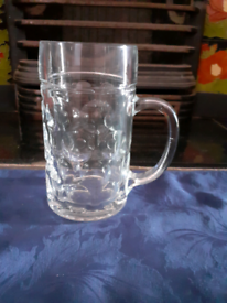 Large One Litre Glass Beer Tankard