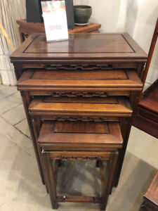 Dark Brown Rosewood Nesting Table 4 Pieces