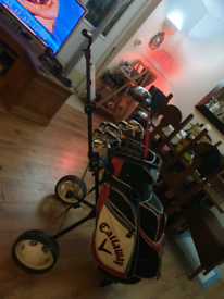Callaway x2 hot clubs,bag and pull trolley