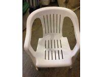 10 white plastic garden chairs