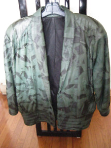 Ladies Bomber Leather jacket - Olive Green with black faux - L