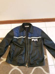PEPSI PROMOTIONAL XL MENS MOTO RIDING LEATHER JACKET MAPLE LEAFS