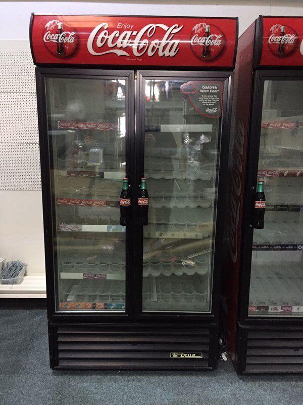 Genuine Coke Cola Branded Upright Double Glass Door Display Fridge Cooler