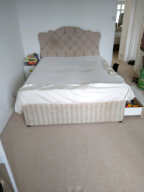King size divan bed with headboard, mattress and valance.