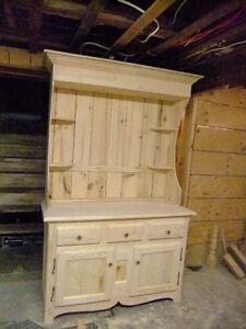 vanité salle de bain en bois massif non teint