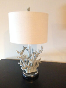 BROYHILL NAUTICAL CORAL LAMP WITH LINEN SHADE (PAID $250) (NEW)