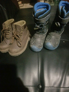 2 pairs of boys boots- size 11