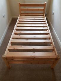 wood bed base single