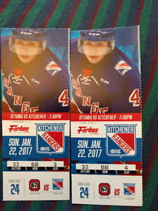 Kitchener Rangers - 2 tickets - Sun. Jan. 22 at 2pm