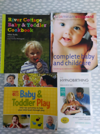 Baby, toddler and hypnobirthing books, £2 each