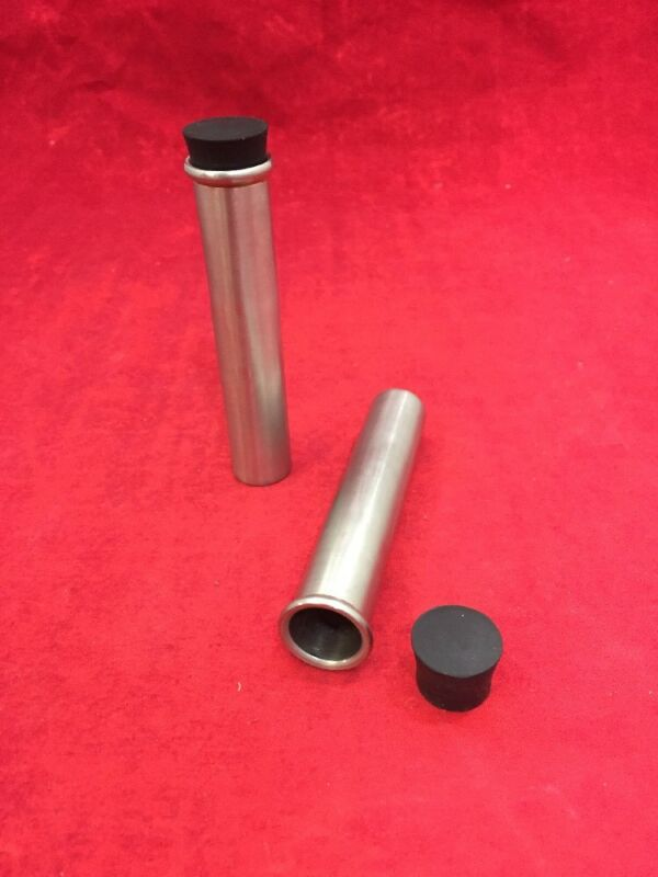 Lot Of 2 Laboratory Tube Shield Stainless Steel Protective Tube W/plug 3.75""