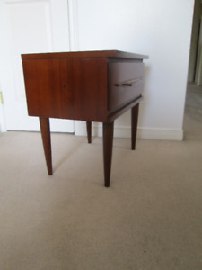 Mid Century Walnut nightstand , side table, one drawer