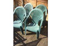 Set of 4 plastic garden chairs £10
