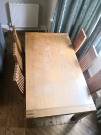 Large Oak dining table and chair