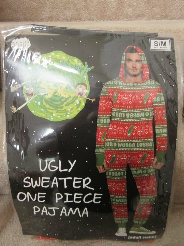 Adult Swim Rick & Morty Ugly Sweater One Piece Pajama S,/M Halloween Xmas NWT