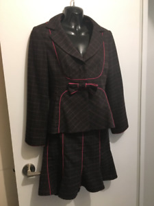 Nanette Lepore brown skirt suit with pink detail