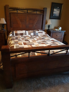 Queen Sized Wood headboard, footboard, mattress and boxspring