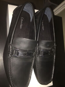 NEW Calvin Klein Black Leather Loafers Size 10.5
