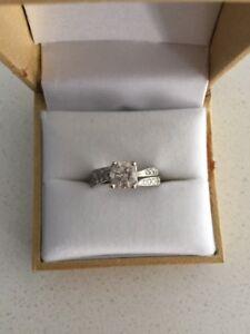 White Gold, Diamond Engagement Ring and Wedding Band