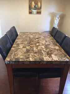 Real Marble top dinning table with 6 leather chairs