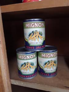 Étiquettes de conserves vintage