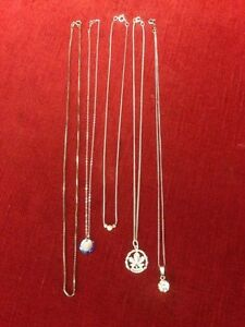 5 STERLING SILVER NECKLACES $20 EACH OR ALL FOR $90 Windsor Region Ontario image 1