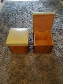 Antique solid wooden storage footstalls