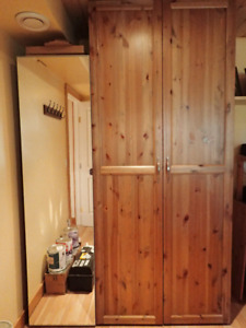 4 Ikea Pax Wardrobes - Antique solid pine doors/1 Mirror door