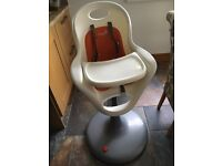 Boon flair high chair orange and white