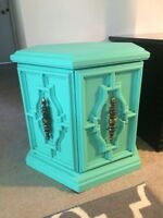 Refinished Seafoam Chalk Painted Oak End Tables/ Night Stands!