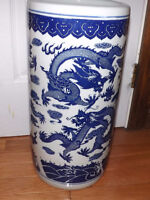 """Large Asian Porcelain Decorative Vase Blue and White 17"""" tall wi"""