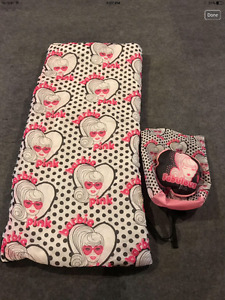 Barbie sleeping bag, backpack and pillow