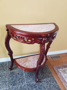 Marble and Cherry Wood Hallway Console Table - Half Moon