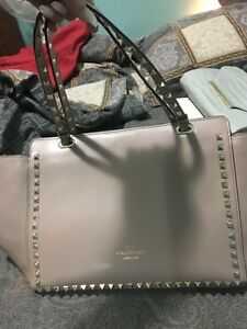 Nude Valentino rock stud bag for sale with hot pink interior  Cambridge Kitchener Area image 1
