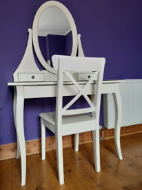 IKEA Hemnes white dressing table with mirror and chair