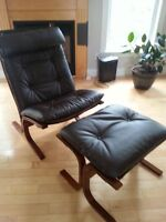 Brand new  brown leather chair with ottoman
