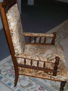 Two Victorian chairs,  same material but not identical, mahogany