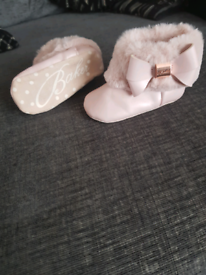 Ted Baker Baby Girl Pink Fur Boots 0/6 mnths