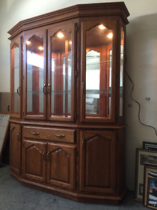 Solid Oak China Cabinet with glass shelves