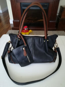 Never Used Black Purse with Brown Straps