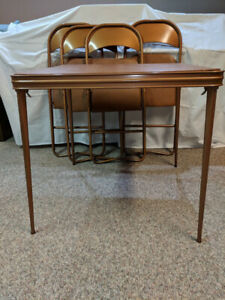 CARD TABLE AND CHAIRS